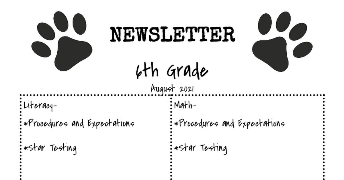 MIS Newsletter- 6th Grade - Google Docs