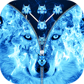 Ice Fire Wolf Lock Screen Zipper Icon