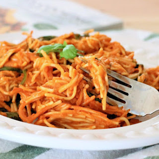 Tomato Soup Pasta with Spinach.