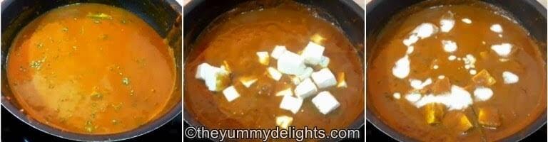 addition of paneer & fresh cream to make butter paneer