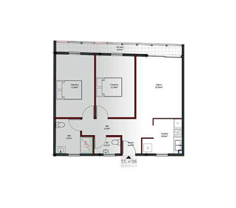 Location appartement 3 pièces 60,71 m2