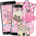 Pink Cute Cartoon Giraffe Theme icon