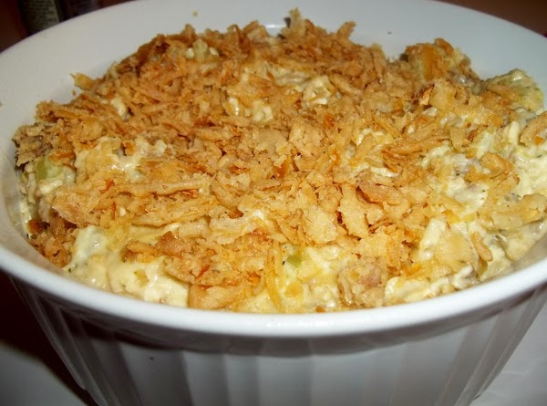 I then scooped the chicken mixture into a 2.5 quart casserole.  Cover the top with...