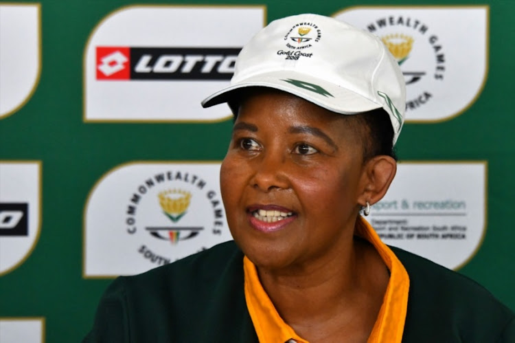 Tokozile Xasa during the visit of Sport Minister Tokozile Xasa to Team SA at the Athlete's Village on April 02, 2018 in Gold Coast, Australia.