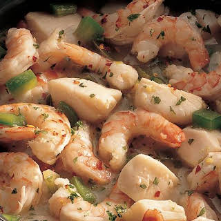 Shrimp and Scallops in Wine Sauce.