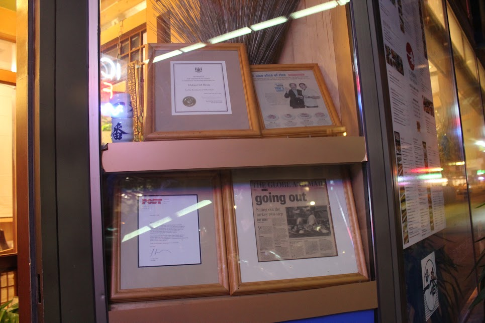 Awards and Recognition at Ichiban Fish House
