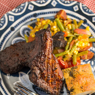 Spice Rubbed Smoked Country Style Ribs with Farm Fresh Veggie Sauté
