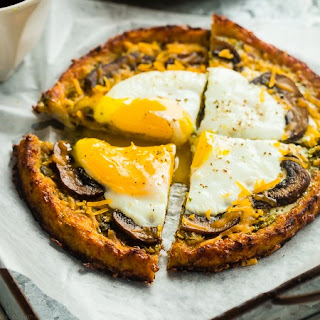 Breakfast Cauliflower Pizza with Eggs and Leek Bacon Pesto {Gluten Free/Grain Free + High protein + Low Carb].