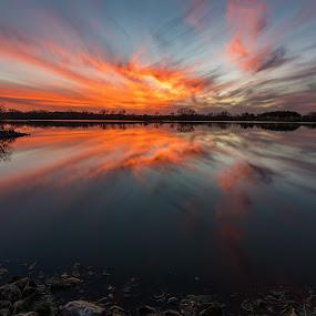 Catching fire by Matt Hollamon - Landscapes Sunsets & Sunrises ( clouds, water, reflection, sunset, yankee hill, d500, lake, nikon, nebraska, tokina, rural,  )