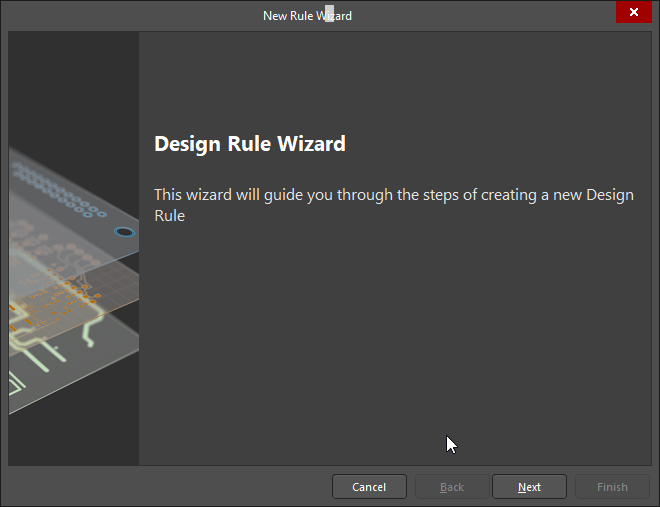 PCB design rule creation wizard