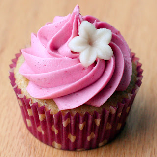 Vanilla Almond Cupcakes with Blackberry Buttercream.