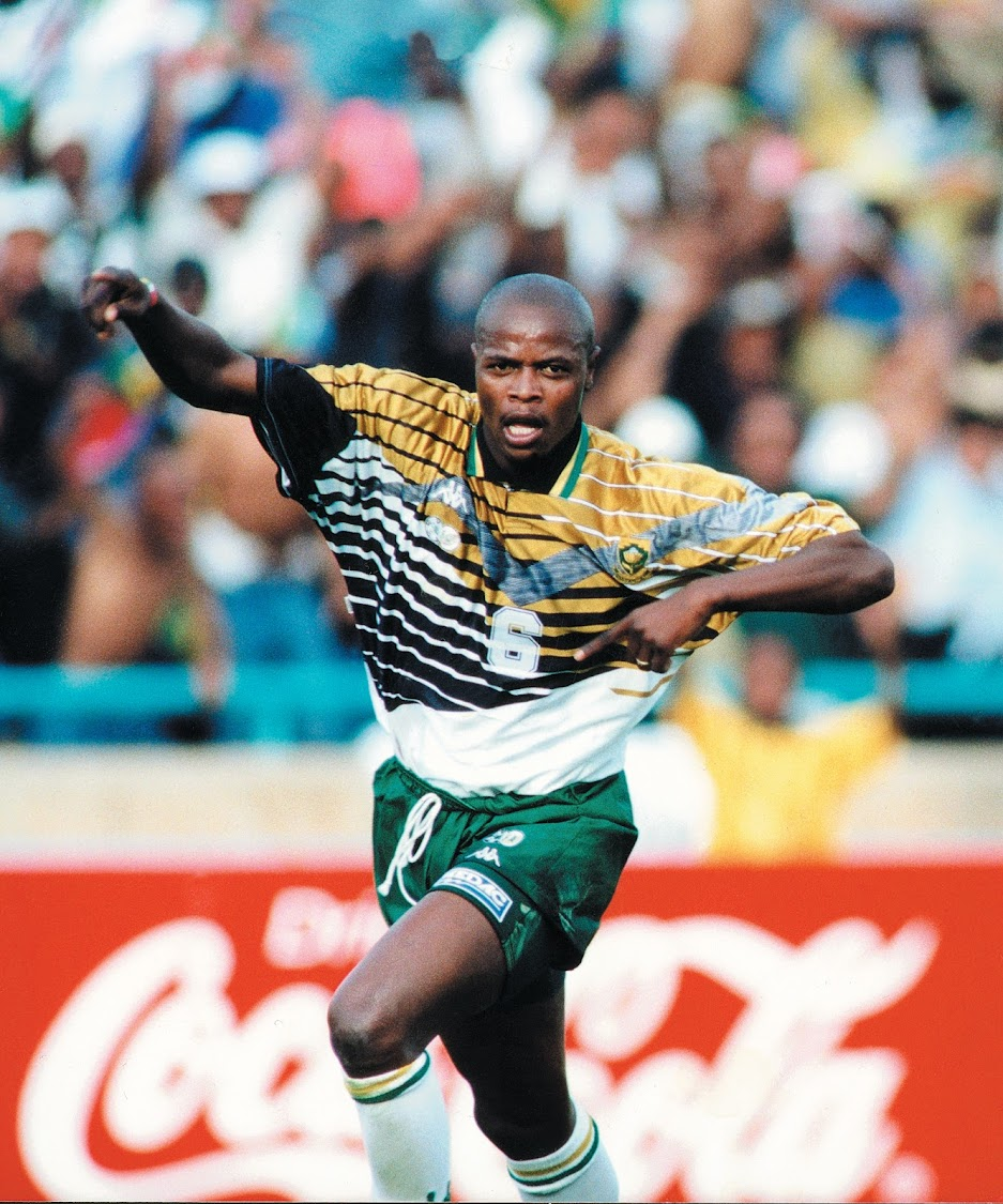 Phil Masinga celebrates scoring South Africa's only goal in the game against Congo, which booked the country a place in the 1998 Soccer World Cup in France.