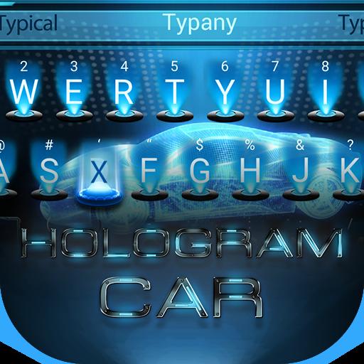 Cool Hologram Car Tech Theme&Emoji Keyboard