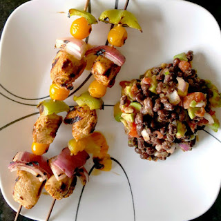 Chicken Fajita Kabobs wtih Black Bean Avocado Salsa