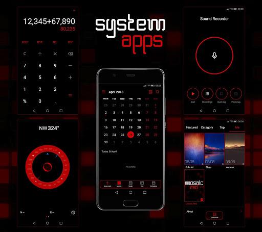 Mosaic Red EMUI 5/8/9 Theme screenshot 8