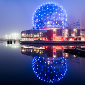 Science World Reflection by James Wheeler - Buildings & Architecture Public & Historical ( lights, british columbia canada, reflection, night, science world, vancouver )