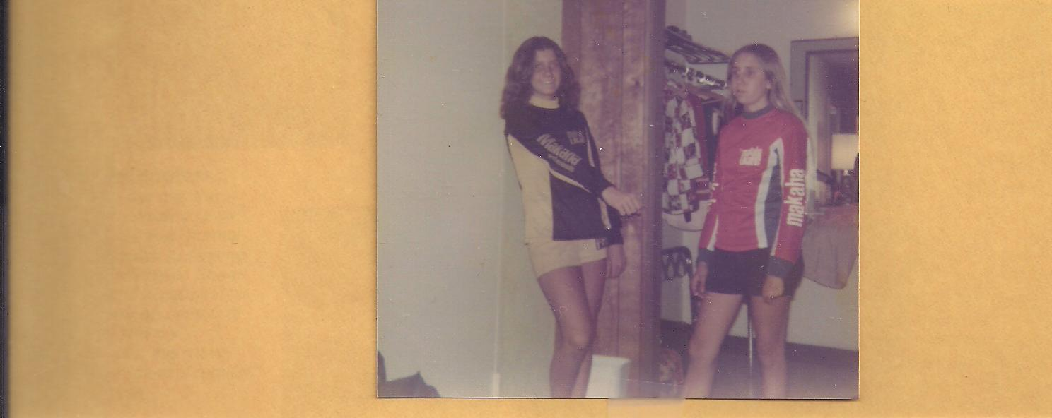 Photo: Kathy with Laura Thornhill wearing the 2 different jersey colors we had.......