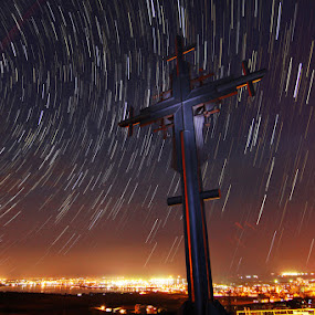 Startrails by Senna Ayd - Buildings & Architecture Statues & Monuments ( sky, stars, night, trails, city )