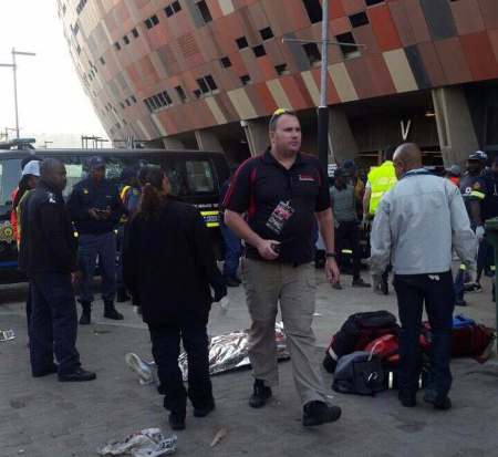 The scene outside FNB Stadium after the stampede that killed two people.