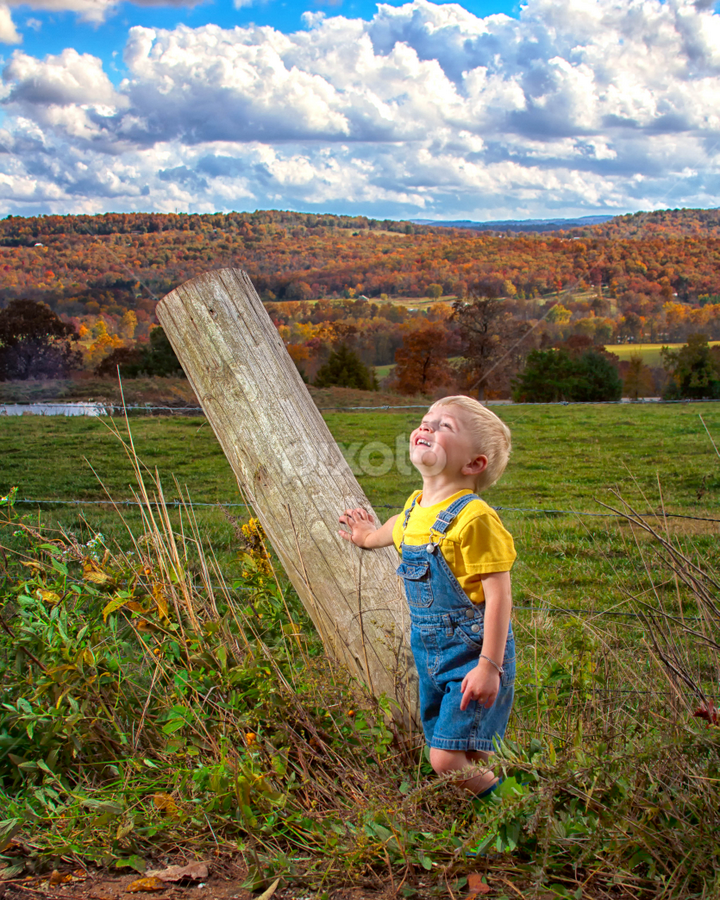 Wonderful Autumn Day by SumPics Photography - Babies & Children Child Portraits ( northwest arkansas, barbed wire, blog, photography, west fork, child, sumpics.com, sky, autumn, family, elkins, photographer, springdale, clouds, leaning, post, colors, greenland, overalls, photo, fence, blonde, wooden, fall, huntsville, portrait slide show, fayetteville, boy, senior, strobe )