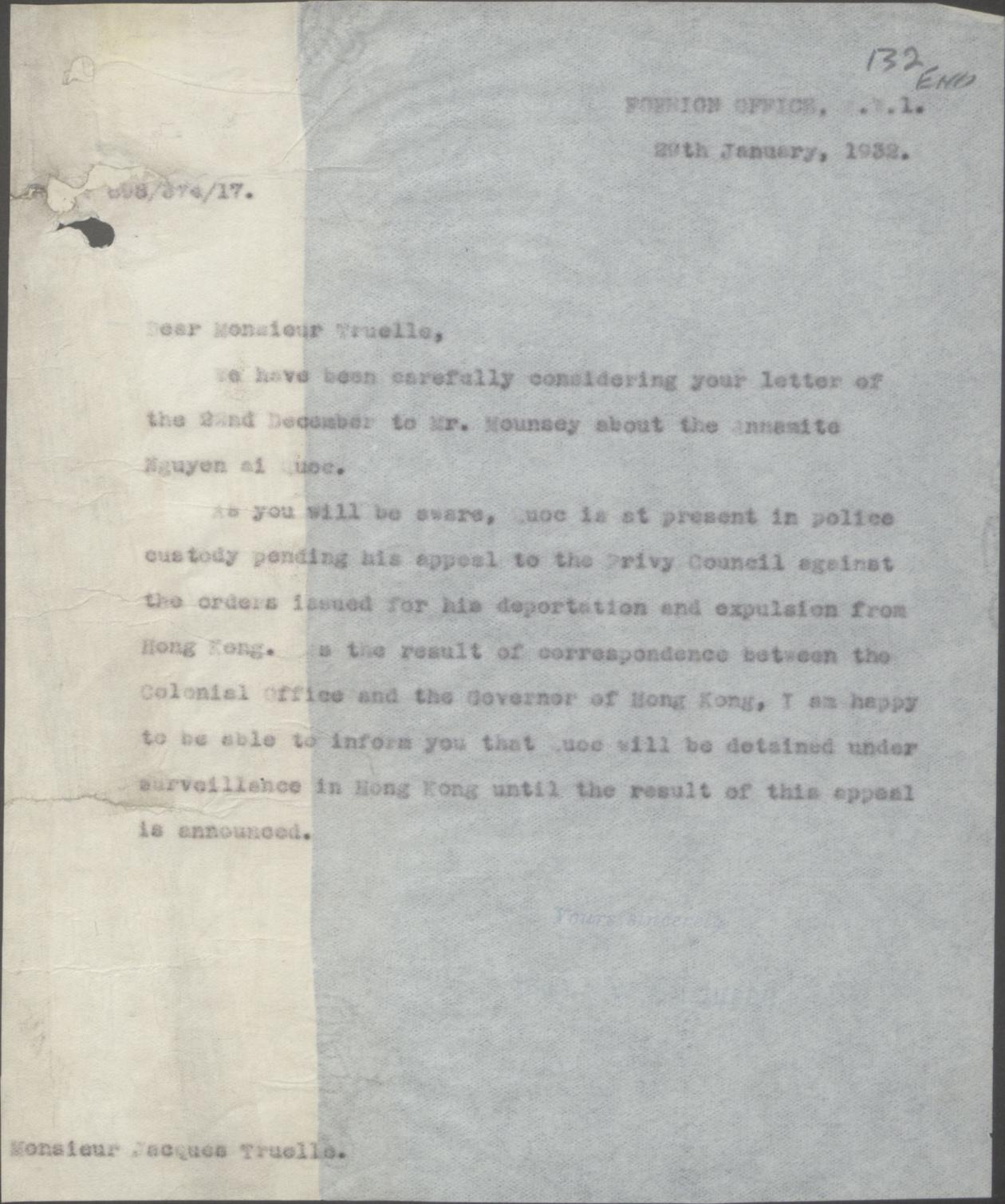 Thư của Bộ Ngoại-giao gởi Đại sứ Pháp ở London 29-01-1932.jpg