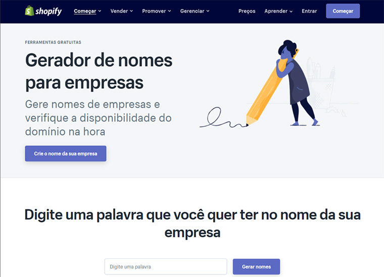 gerador de nomes para empresas do shopify