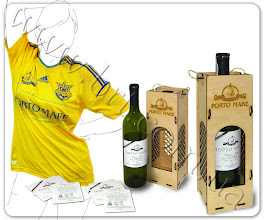 Photo: Сувениры с логотипом Порто-Маре (Парк-отель, Крым): наклейка на вино, коробка для спиртного, футбольная форма. Дизайн наклейки разработан в БРТ