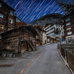 Zermatt by Aamir DreamPix - City,  Street & Park  Street Scenes ( mountains, mountain, europe, mountain village, stars, zermatt, switzerland, star trails,  )