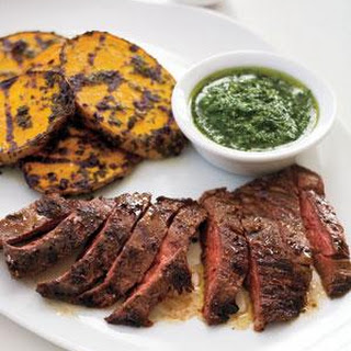 Skirt Steak and Potatoes With Herb Sauce.