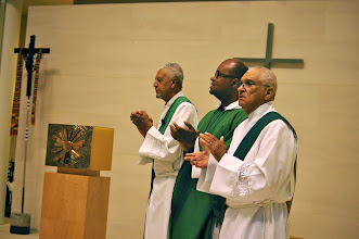 Photo: Deacons Harold Vincent and Deacon Raymond Derouen assisted Father Jeffrey Ott, O.P. at Saturday's liturgy