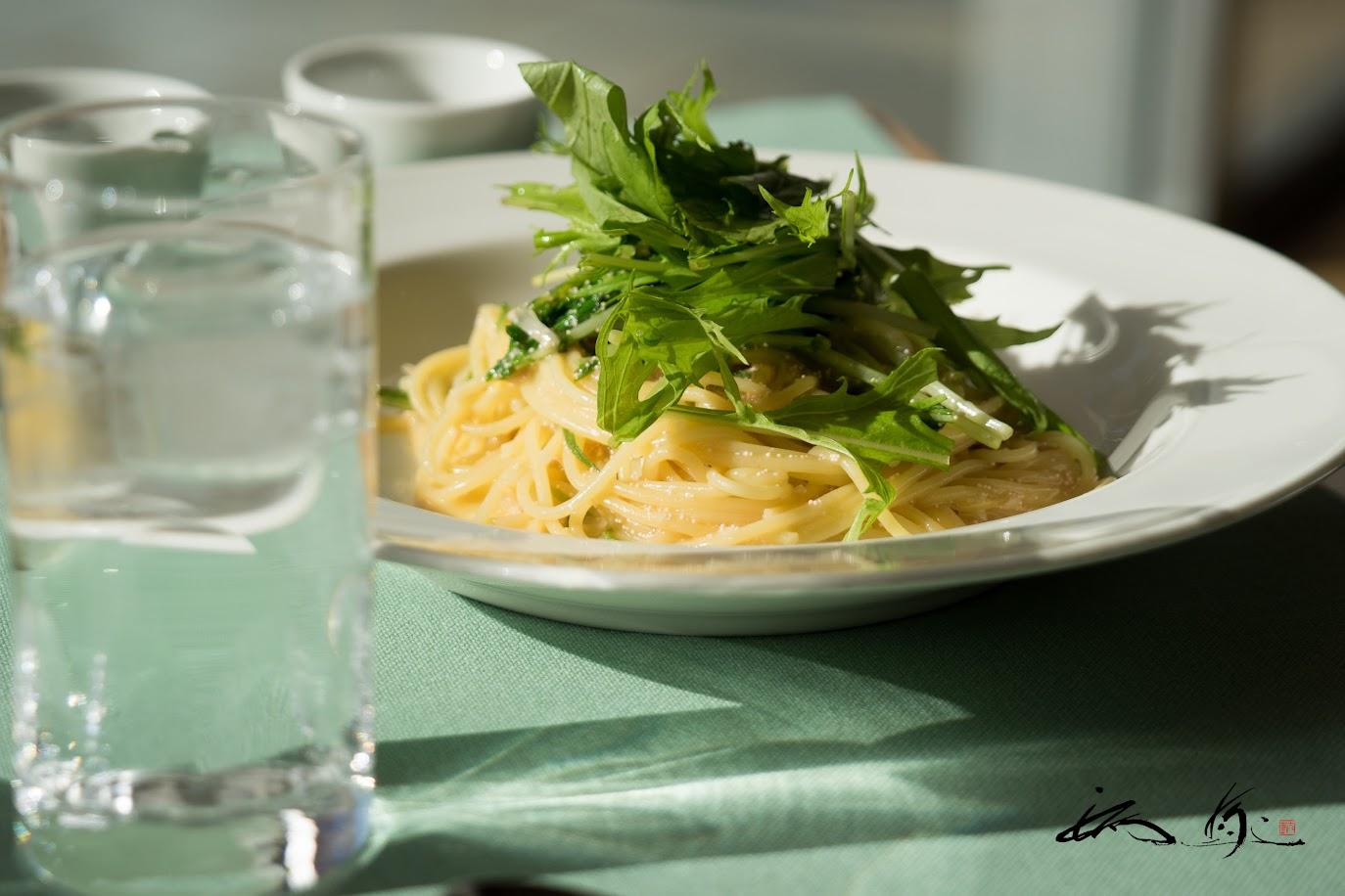水菜と明太子のクリームパスタ