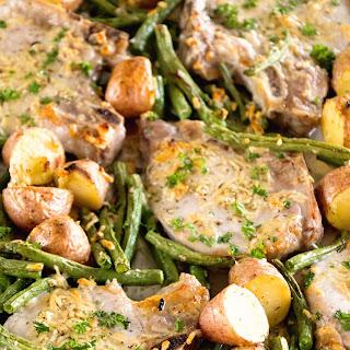One Pan Parmesan Pork Chops and Veggies.