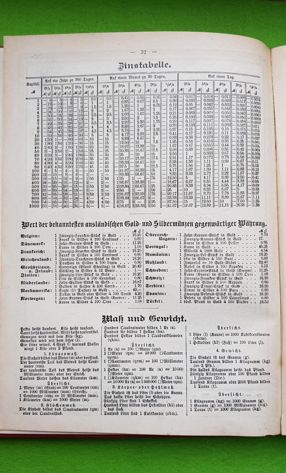 Großer Volkskalender des Lahrer hinkenden Boten - 1914 - Währungsumrechner und Zinstabelle