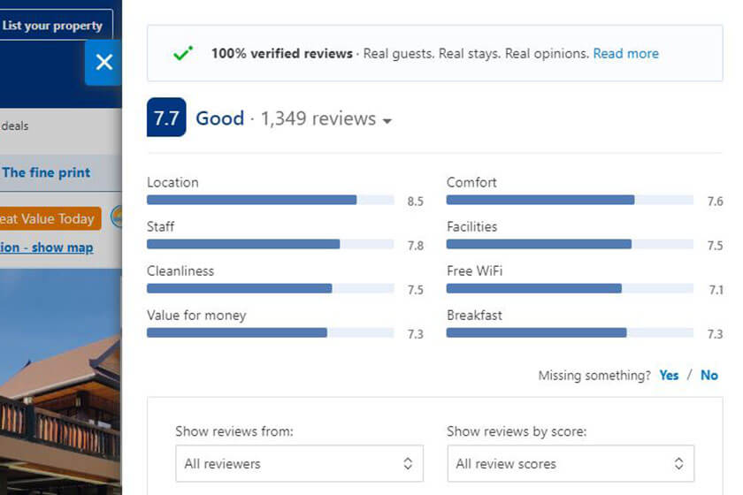 Booking.com reviews site