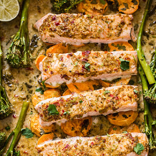 Chili Garlic Salmon with Sweet Potatoes and Tenderstem Broccoli.