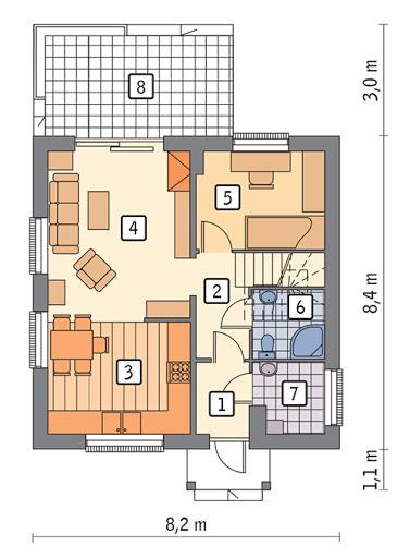 Dom na rozstaju - wariant II - C214b - Rzut parteru
