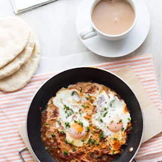 Moroccan eggs with Harissa paste.