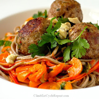 Banh-Mi Turkey Meatballs with Soba Noodles