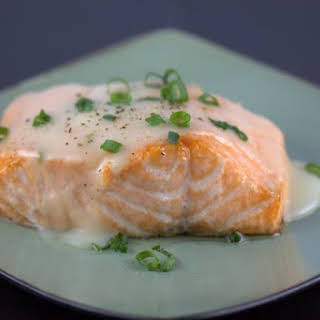 Roasted Salmon with White-Wine Sauce.