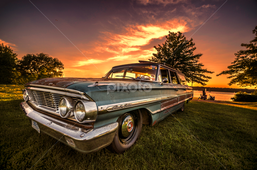 Sunset Ford Country Sedan by Sarah Hauck - Transportation Automobiles