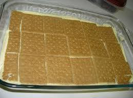 In a 9x13 pan,place a layer of graham crackers in bottom. Spoon half of...