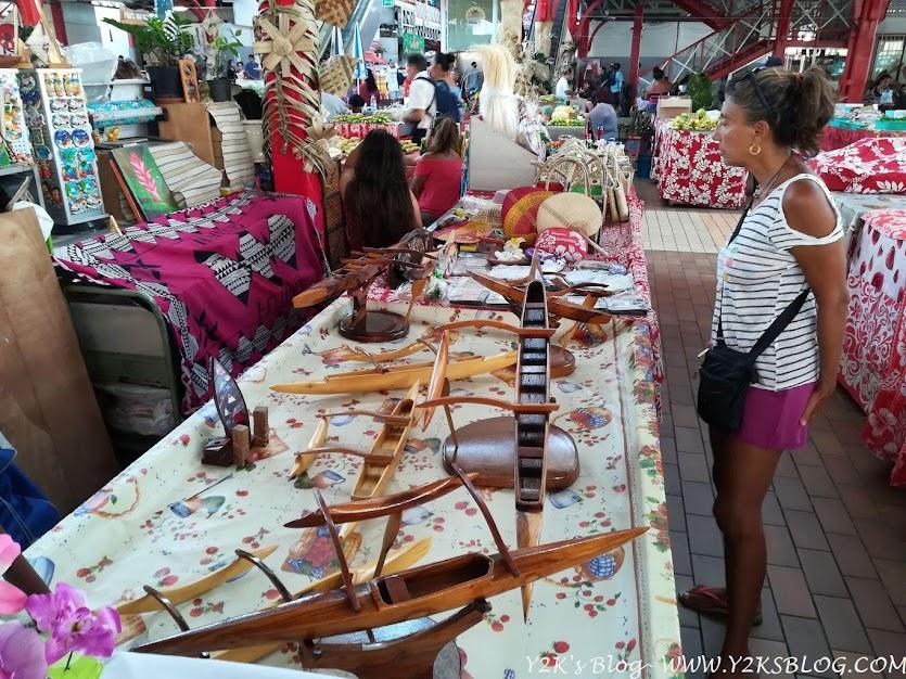 Lavori in legno dalle Marchesi al mercato di Papeete - Tahiti