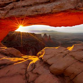 Mesa Arch at Dawn by Mike DiRenzo - Landscapes Sunsets & Sunrises ( desert, starburst, utah, sunrise, mesa arch, landscape )