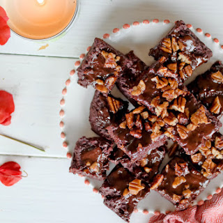 Beetroot Brownies with Chocolate Glaze and Toasted Pecans (Written from Italy).