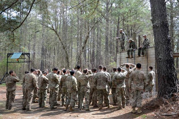 Instructors teach students how to friction-rapel during the evasion phase of Survival Evasion Resistance and Escape Level-C training (SERE) at Camp Mackall,