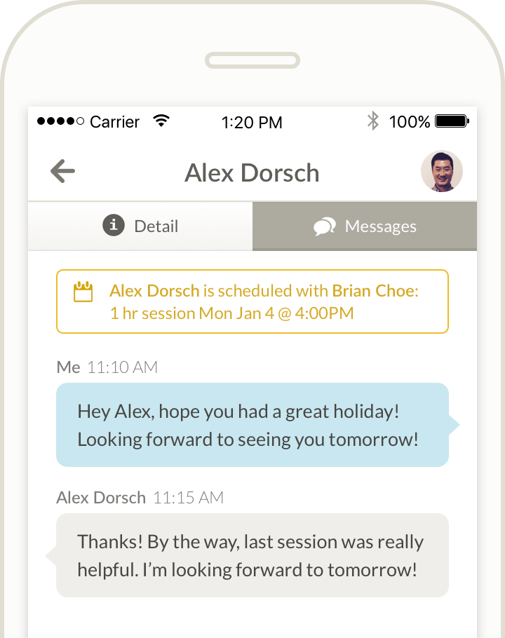 scheduling app with integrated chat