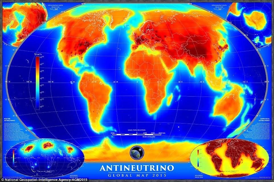En la foto, el primer mapa global de flujo anti-neutrino, explica las fuentes naturales y artificiales de antineutrinos, con esta última toma de menos del 1 por ciento del flujo total. La imagen inferior izquierda muestra antineutrinos producidos por los reactores nucleares, mientras que la parte inferior de la imagen muestra las correctas