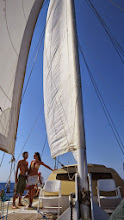 Photo: Elise and Manuel with the sails up