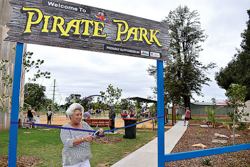 : The Pirate Park at Narrabri Lake is officially opened by Narrabri Shire Mayor Cathy Redding on Saturday. The park has proved popular since being open to the public during the September/October school holidays.