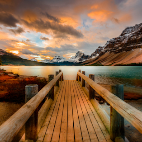 Bow Lake by Joseph Law - Landscapes Waterscapes
